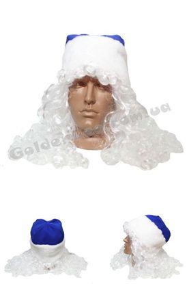 Новогодняя шапка Деда Мороза с волосами