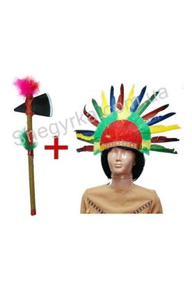 Набор Индейца парик и томагавк