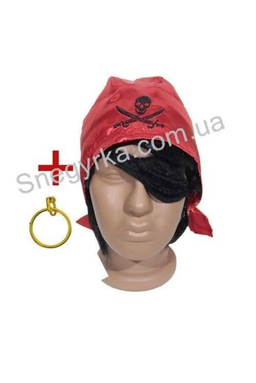 Пиратская бандана, повязка и серьга комплект