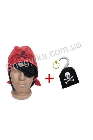 Пиратский набор бандана, повязка, крюк, серьга
