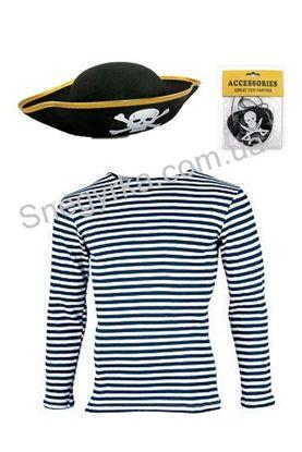 Піратський набір тільняшка, шапка, пов'язка