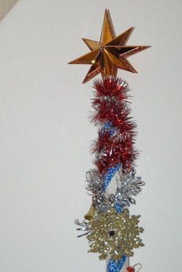 Посох Деда Мороза украшенный со звездой