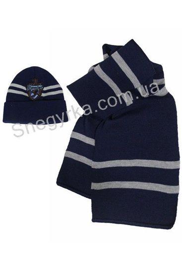 Теплый вязанный шарф Когтевран с эмблемой