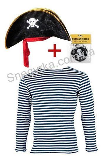 Набор пирата тельняшка, шапка, повязка