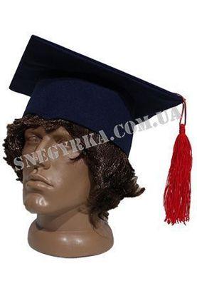 Шапка выпускника синяя с красной кисточкой